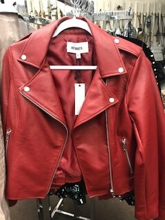 Apparel/jacket/Red faux leather Available in Sizes: XS and Med/