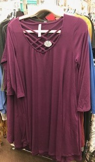 Apparel/dress/3/4 length sleeve/criss cross neck/wine sz. small/med and large