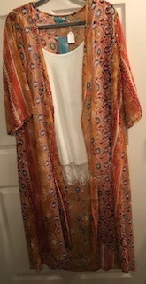 Apparel/duster/mustard print/one size fits most