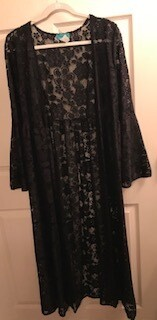 Apparel/duster//Black lace sz. sm/med/lg