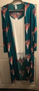 Apparel/ duster/turquoise duster with steer skull/sz. small/medium/large