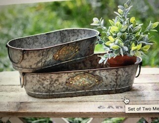 Home decor/set of two metal troughs