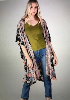 Apparel/angie kimono/black with floral print/sz.med