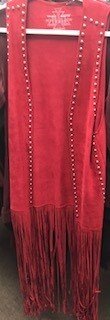 Apparel/vest/fringe/Crazy Train/Red/one size/silver studs