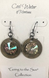 Coolwater Jewelry/earring/coin with Swarovski crystal