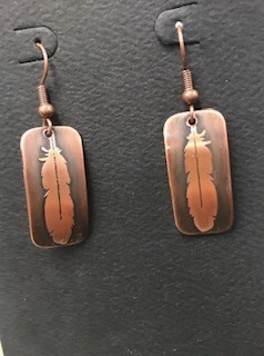 Earring/handcrafted/copper/feather