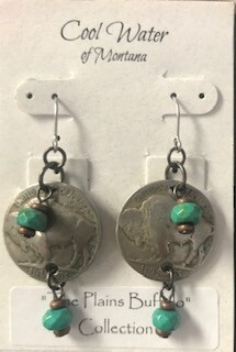 Coolwater Jewelry/buffalo nickel/turquoise earring