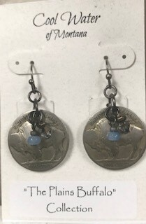Coolwater Jewelry/buffalo nickel earring/w light blue stone
