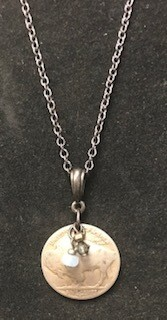 Coolwater Jewelry/necklaces/plain buffalo nickel with stone