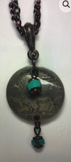 Coolwater Jewelry/buffalo nickel with turquoise/necklace