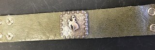 Bracelet/Hand crafted Wyo Steamboat concho/ olive green