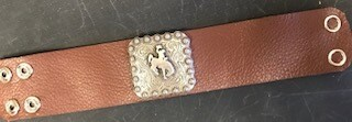 Bracelet/Wyo steamboat concho/handcrafted/brown