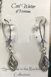 Coolwater Jewelry/earring/swarovski clear crystal stone w/tanzanite