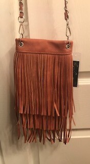 Crossbody bag by Chic/tan with fringe