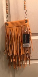 Crossbody bag by Chic/mustard with fringe