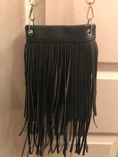 Crossbody bag by Chic/black with fringe