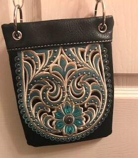 Crossbody bag by Chic/black and turquoise