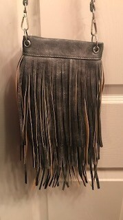 Crossbody bag by Chic/silver metallic with fringe