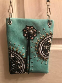Crossbody bag by Chic/turquoise & black