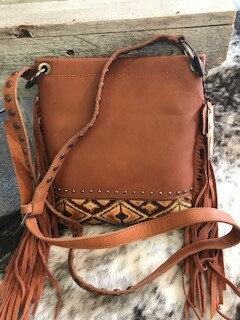 Montana West/tan/leather/crossbody bag with fringe
