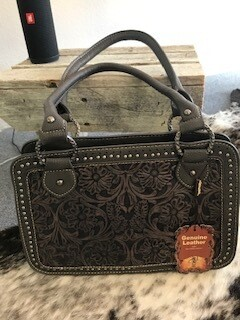 Montana West/grey tooled genuine leather handbag with double shorter straps