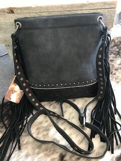 Montana West/grey suede and black crossbody bag/ black fringe/black hair on at bottom of bag