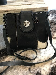 Montana West/Black/Hair on/leather/concho handbag/genuine leather