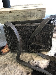 Montana West/grey tooled genuine leather handbag with long strap