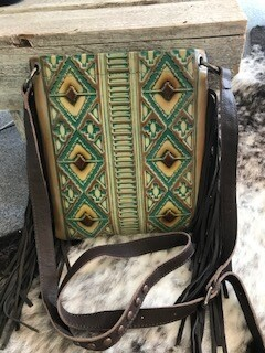 Montana West/leather/turquoise & brown design/brown fringe