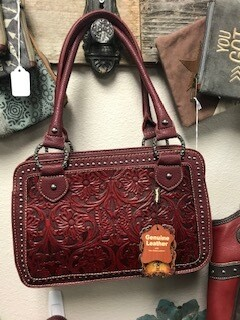 Montana West/red tooled genuine leather handbag with double straps
