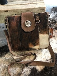 Montana Wes/Genuine Leathert/Hair on/brown/concho/handbag