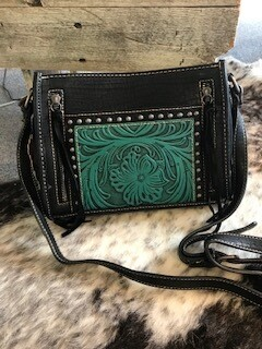 Montana West/black and turquoise tooled leather crossbody bag/genuine leather