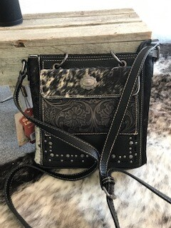 Montana West/hair on and black leather/concealed/handbag/genuine leather