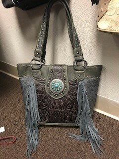 Montana West/Grey genuine leather/brown tooled front/grey fringe/turquoise concho/concealed
