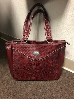 Montana West/Red leather handbag with double straps/concealed