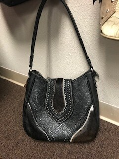 Montana West/black tooled leather and hair on hand bag with long strap