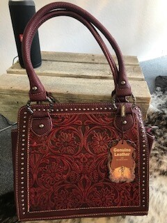 Montana West/red tooled genuine leather handbag with double shorter straps