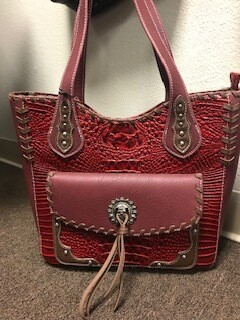 Montana West/Large red tooled genuine concealed handbag with front compartment