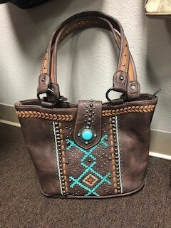 Montana West/genuine brown leather with aztec design on front/conceal handbag/double strap