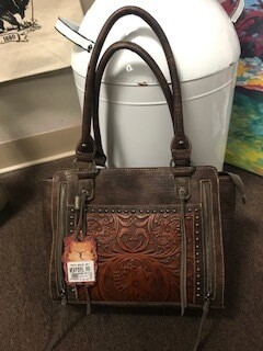 Montana West/brown/tooled/genuine leather hand bag with double strap