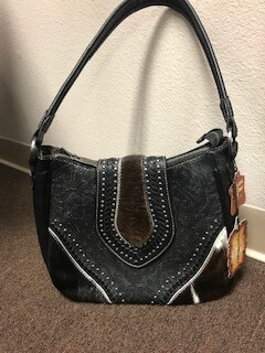 Montana West/genuine leather and hair on black handbag