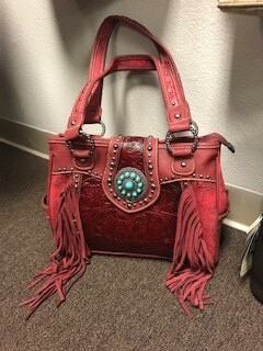 Montana West/red genuine leather/tooled/fringe/concealed hand bag/double strap