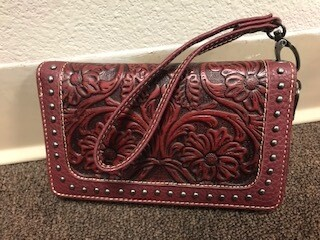 Montana West/red tooled leather wallet/wristlet