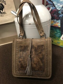 Montana West/tan and brown/genuine leather/double strap/concealed handbag