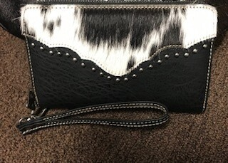 Montana West/black hair on and leather wallet/wristlet
