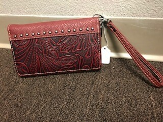 Montana West/red tooled leather/wallet and wristlet