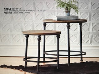 Home decor by Melrose/side tables/set of 2/metal and wood