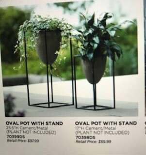 "Home decor by Melrose/oval pot with stand/cement pot/metal stand/set of 2/25.5"" and 17"""