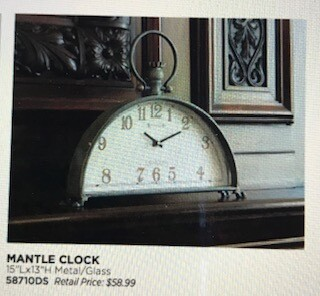 Home decor by Melrose/mantle clock/15x13
