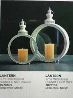 "Home decor by Melrose/lantern/set of 2/white/17.5""/22"""